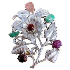 Antique Art Deco Chinese Silver Fuchsia Pink Tourmaline and Apple Green Jadeite Jade Floral Flower Brooch