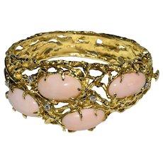 Hefty 66 Grams Vintage 14K Yellow Gold Diamonds Angel Skin Pink Coral Cab Bangle Bracelet