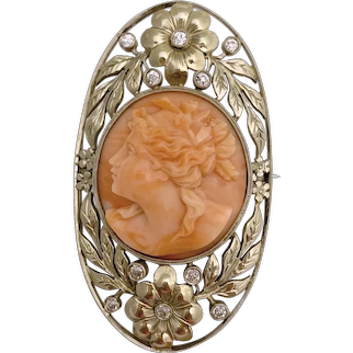 Antique Art Neoveau 14K White Gold Diamonds Carved Peachy Pink Light Salmon Coral Cameo Floral Brooch