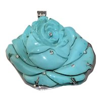 Stunning Large Vintage 14K White Gold Carved Turquoise Rose Flower Diamonds Pendant