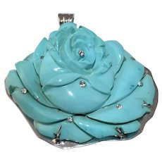 Stunning Large Vintage 14K White Gold Carved Turquoise Rose Flower Diamonds Pendant