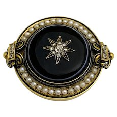 Antique Victorian Large Enamel Bull's-eye Banded agate Diamonds Seed Pearl Mourning Brooch or Pendant