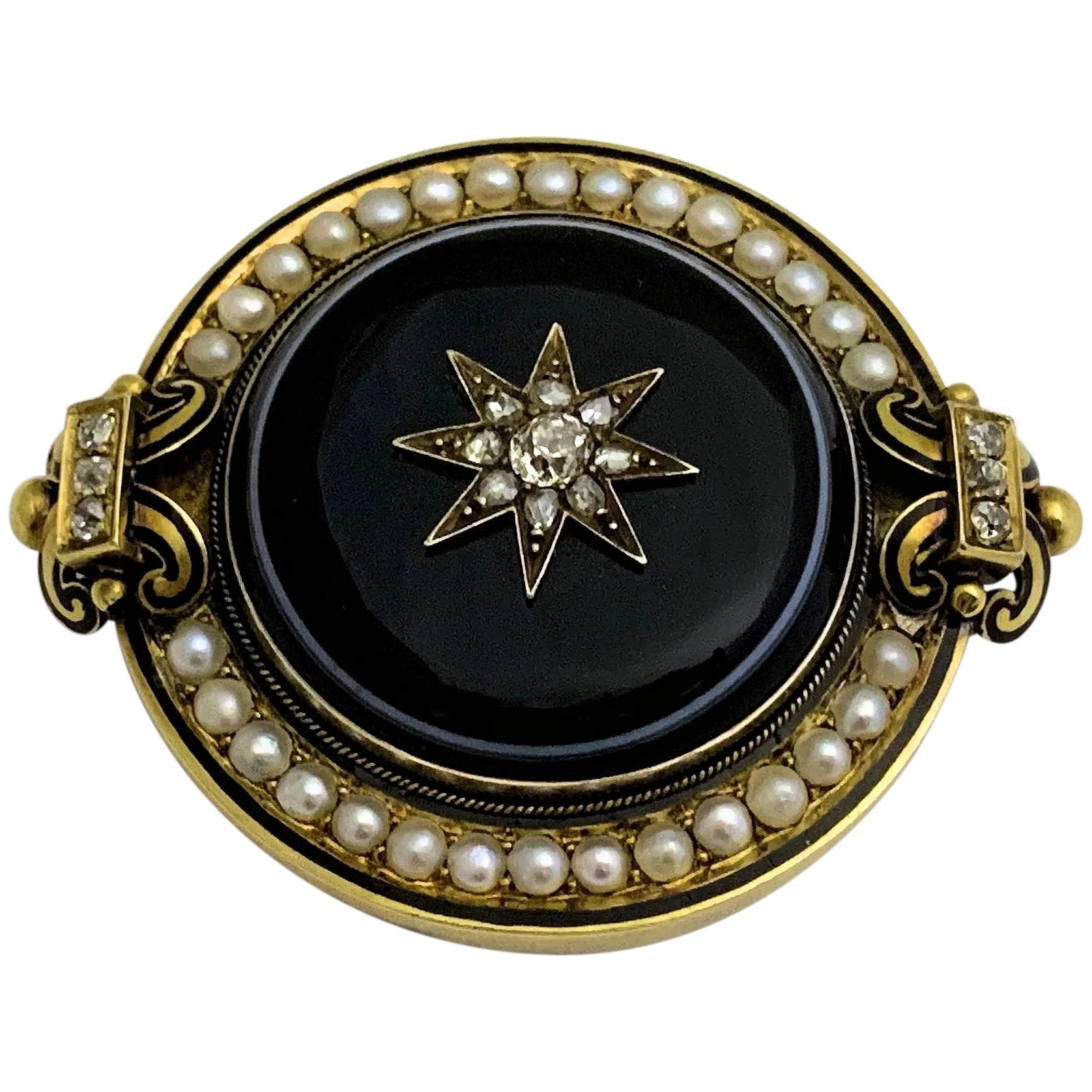 Victorian Enamel and Gold Brooch Antique Mourning Hair Brooch Victorian Gold Pendant
