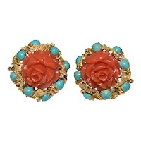 Magnificent Vintage Massive Large Jumbo Size 27 Grams 14K Yellow Gold Carved Deep Salmon Red Coral Rose Flower with Diamonds and Turquoise Earrings Omega clasp with Posts
