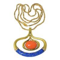 Stunning Vintage 14K Yellow Gold Large Momo Salmon Red Coral Diamonds Lapis Pendant Necklace