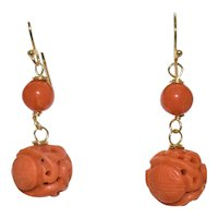 Enchanting Vintage Chinese 14K Yellow Gold Art Deco Carved Deep Salmon Red Coral Dragon Dangling Earrings
