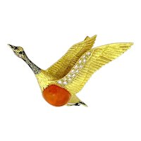Enchanting Vintage 18K Yellow Gold Enamel Large Gem Quality Mexican Firing Opal Diamonds Seagull Brooch