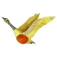 Enchanting Vintage 18K Yellow Gold Enamel Large Gem Quality Mexican Firing Opal Diamonds Seagull Brooch