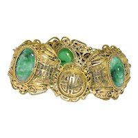 Antique Art Deco Chinese Gold Gilded Silver Filigree Carved Green Jadeite Jade Linked Bracelet