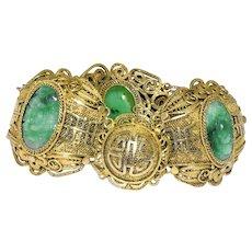 Antique Art Deco Chinese Gold Gilded Silver Filigree Carved Green Jadeite Jade Linked Bracelet