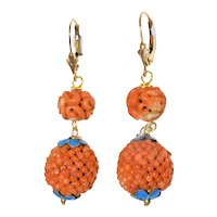 Enchanting Antique Art Deco Chinese 14K Yellow Gold and Enamel Natural Salmon Red Coral Dragon Beaded Earrings