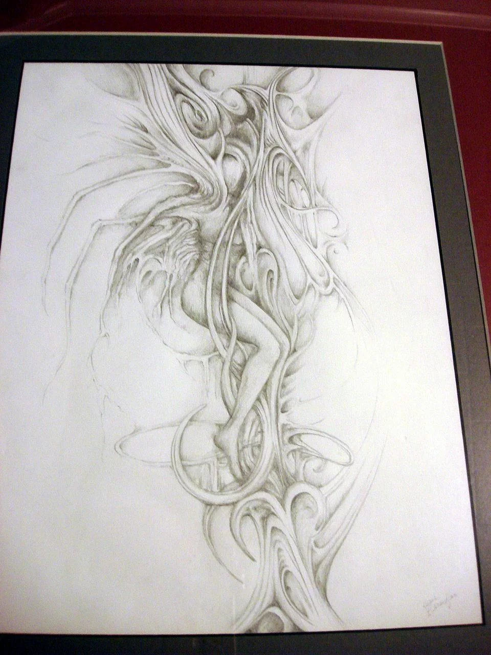 Abstract female nude pencil drawing and 3d plaster work of art click to expand