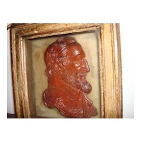 Antique Wooden Carved Or Pottery Bust Of Ulysses S Grant  USA 18Th President Framed  And Signed