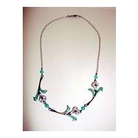 Vintage Enamel Over Copper Child Flower Necklace