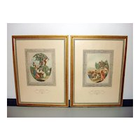 Vintage colored Etchings of W. Hamilton & F. Bartolozzi Published by Sidney Z. Lucas
