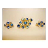 Vintage Beautiful Blue Rhinestones Austrian Brooch And Clip Earring set