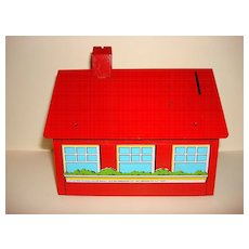 Vintage Little Red Schoolhouse Metal Bank