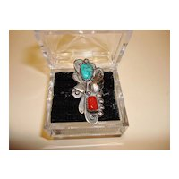 Vintage Native American Sterling Coral And Turquoise Ring