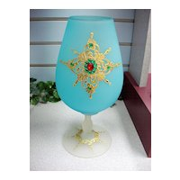 1940's Decorated Frosted Velvet Glass Vase