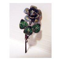Vintage 800 Silver Filigree And Enamel Flower Brooch
