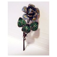 Vintage 800 Silver Filigree And Enamel Flower Brooch