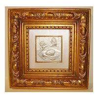 Vintage Sterling Art Work Plaque Of Baby And Cherubs- Italy