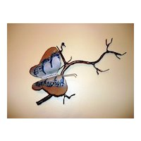 Vintage Hand Crafted Copper Work Of Art: Enamel Butterfly On A Branch