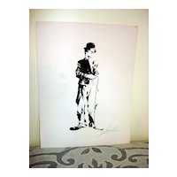 Woodblock Print Of Charlie Chaplin Signed by Lavy Lee