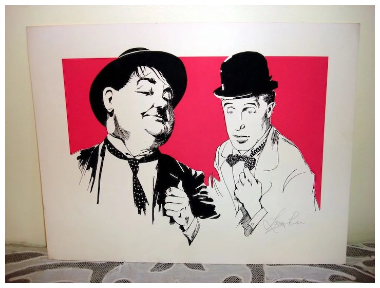 Three Color Woodblock Print Of Laurel & Hardy By Lavy Lee : Otto\'s ...