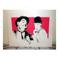 Three Color Woodblock Print Of Laurel & Hardy By Lavy Lee