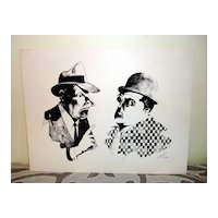 Woodblock Print Of Abbott & Costello Signed Lee