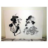 Woodblock Print Of Abbott & Costello Signed Lee