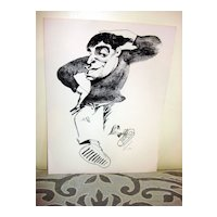 Woodblock Print Of Jerry Lewis Signed Lee