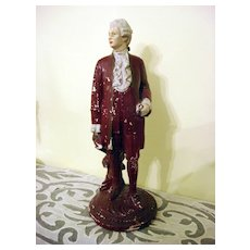 Vintage Chalkware Figurine Of A 18th Century Officer