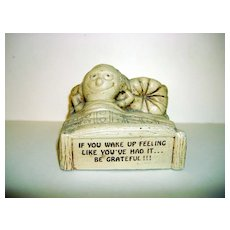 Vintage Comical Figurine Of Happy Man In Bed By Paula