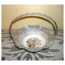 Farber & Shlevin Aluminum/China Candy Dish Basket