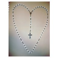 Vintage Cut Crystal Beads Rosary With Sterling Medal & Crucifix