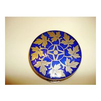 Vintage Blue Enamel French Compact