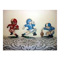 Vintage Homco Boys Football Player Wall Cast Metal Plaques