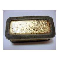 Vintage Velvet Pin Box With Gilt High Relief Landscape Plaque
