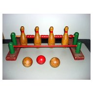 Folk Art Wooden Bowling Game