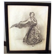 Vintage Pencil Drawing Of Gorgeous Lady With A Beautiful Dress