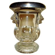 Rogers Sterling Silver Rimmed Lion Glass Tooth Pick Holder