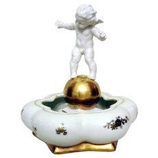 Vintage Fine German Porcelain Cupid Console