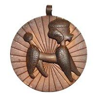 Native American Solid Copper 3D Poodle Medallion Pendant