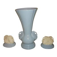 Vintage Decorative Swan Porcelain Vase And Candle Holders