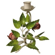 Vintage Hand Painted metal Roses Branch Candle Holder
