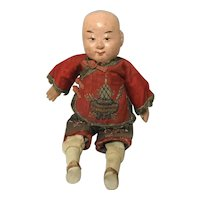 Vintage Oriental Composition And Cloth Doll