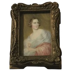Vintage Small Wooden Jewelry Box With Victorian Style Lady Print