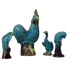 Vintage Chinese Poterry Birds Figurines